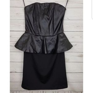 Poof faux leather peplum dress